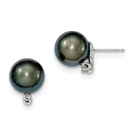 14K White Gold 10-11mm Rd Saltwater Cultured Tahitian Pearl .10ct Dia. Post Earring, 13mm long, 10mm wide
