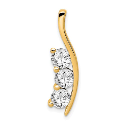 14K AA Diamond Large Three Stone Curved Bar Pendant: 3.09gm, 29mm long, 3.49in long, 8mm wide