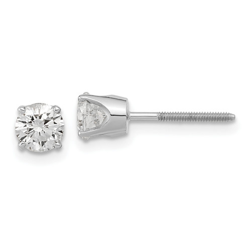 14K White Gold AA Quality Complete Diamond Stud Earring, 6mm long, 6mm wide