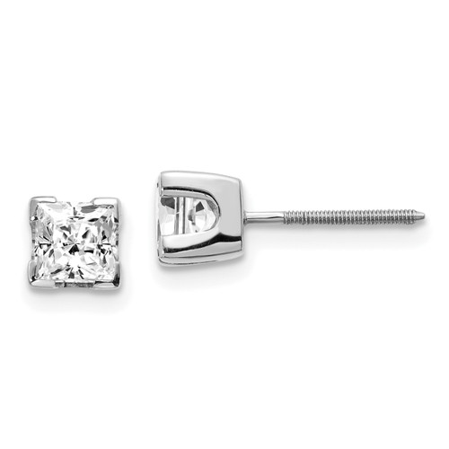 14K White Gold 1ct AA Quality Complete Princess Cut Diamond Earrings: 0.81gm, 4.5mm long, 4.5mm wide