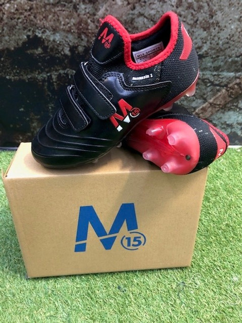M15 Assassin Football Boots - Black/Red - Velcro