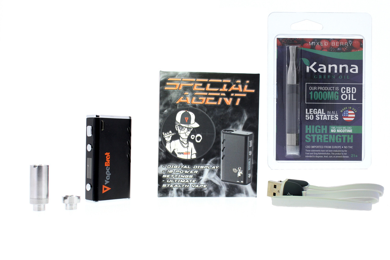 Special Agent Conceal Wax Cbd Vape Juice Pen Kit + Prefilled Kanna 1000mg  Cartridge