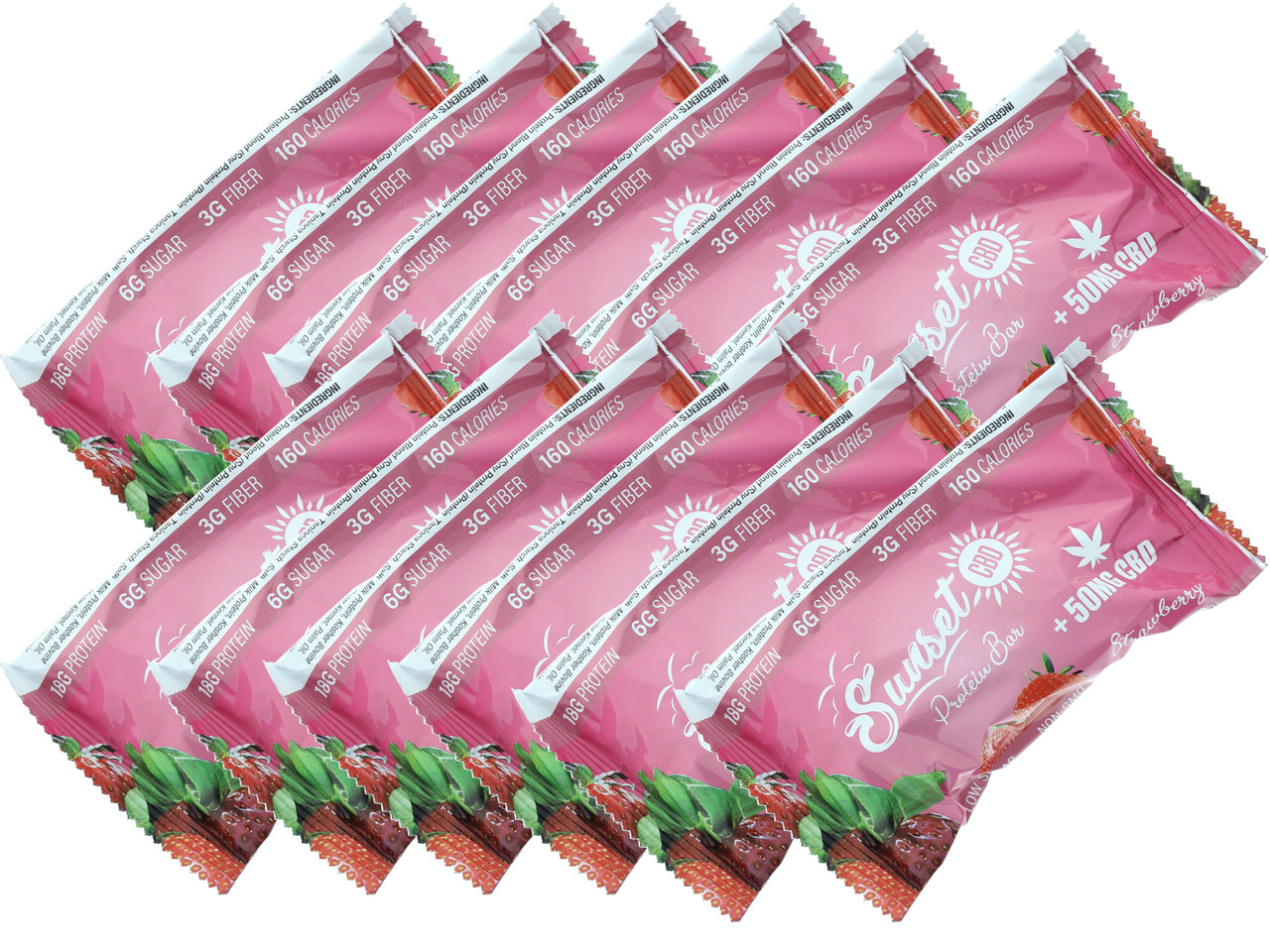 Natural Paradise 50mg CBD Protein Bars Strawberry
