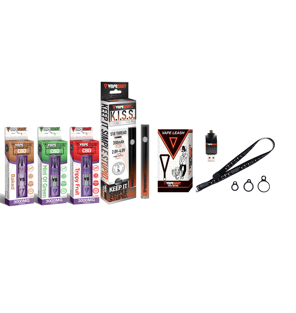 Vapebrat K.I.S.S Pen With 3x 3000MG Variety CBD Cartridges, Charger, & Vape Leash