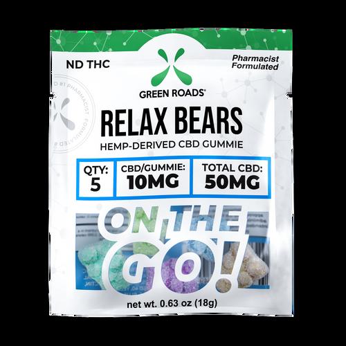 On the GO Relax Bears 50mg CBD Gummies by Green Roads