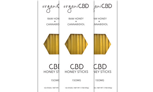 OrganiCBD Honey Sticks 10 count 150mg 3 Pack