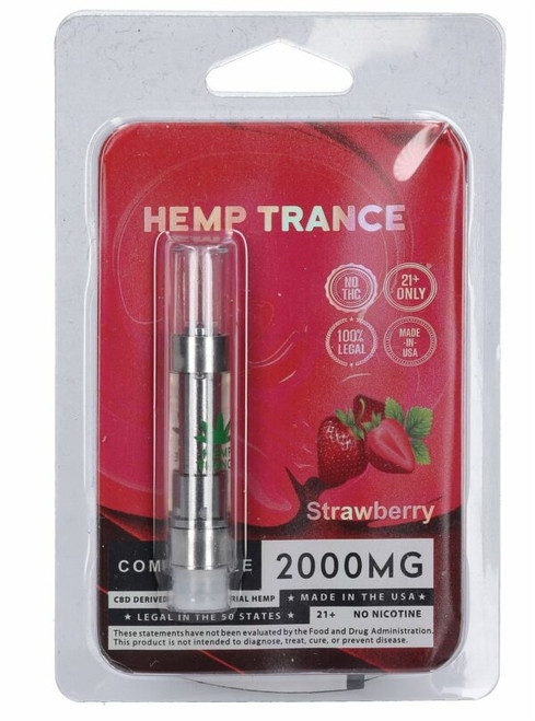 2000mg CBD Prefilled Cartridges from Hemptrance 1mL-STRAWBERRY