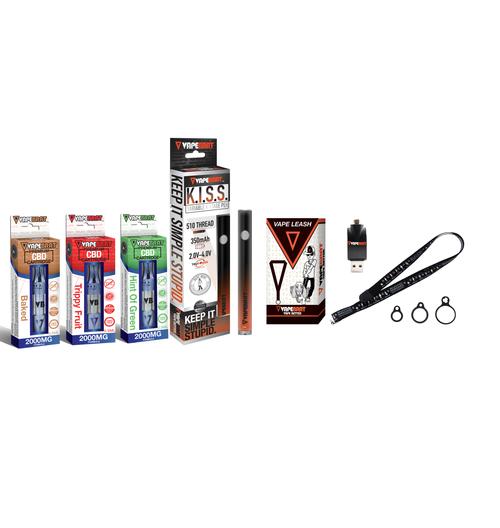 Vapebrat K.I.S.S Pen With 3x 2000MG Variety CBD Cartridges, Charger, & Vape Leash
