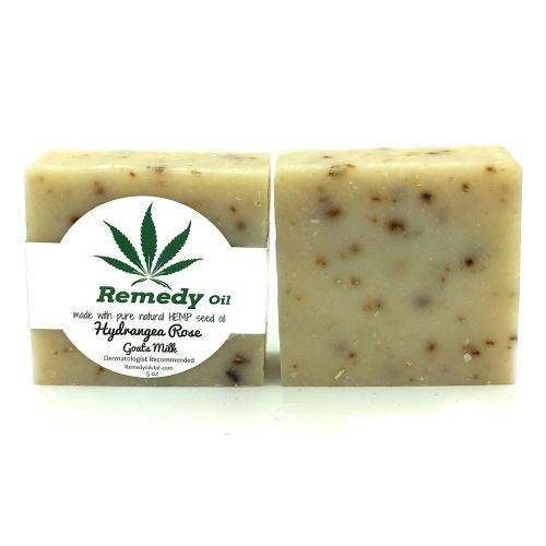 Remedy Oil CBD Hydrangea Rose Goats Milk Hemp Seed Oil Soap Bar
