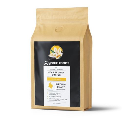 Green Roads Hemp Flower Coffee 12 oz - Medium Roast French Vanilla