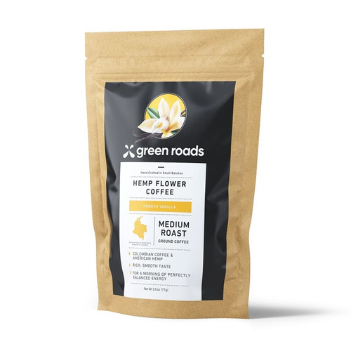 Green Roads Hemp Flower Coffee 2.5 oz - Medium Roast French Vanilla