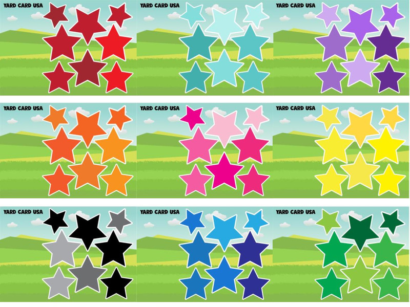 stars, pink, purple, green, blue, yellow, orange,red, black, gray,