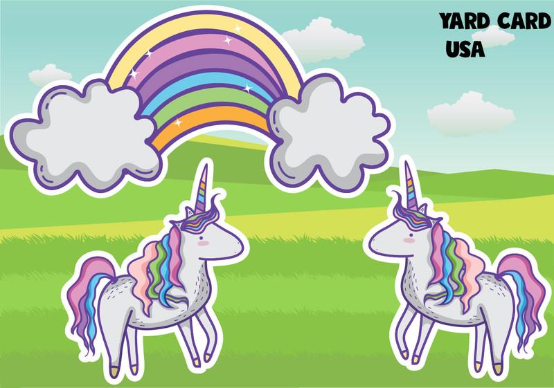 yard card, yard signs, birthday yard signs, lawn letters, lawn greetings, birthday lawn signs, rainbows, unicorns, fairies, enchanted, princess, storybook