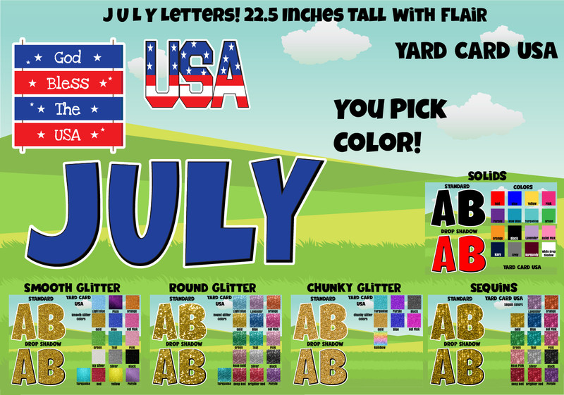july 4th, yard signs, birthday yard signs, lawn letters, yard card rental wholesale, birthday sign rentals, yard card supply, yard card wholesale, yard card supplier, yard cards, lawn cards, lawn greetings, gifts, gold glitter, black glitter, red glitter