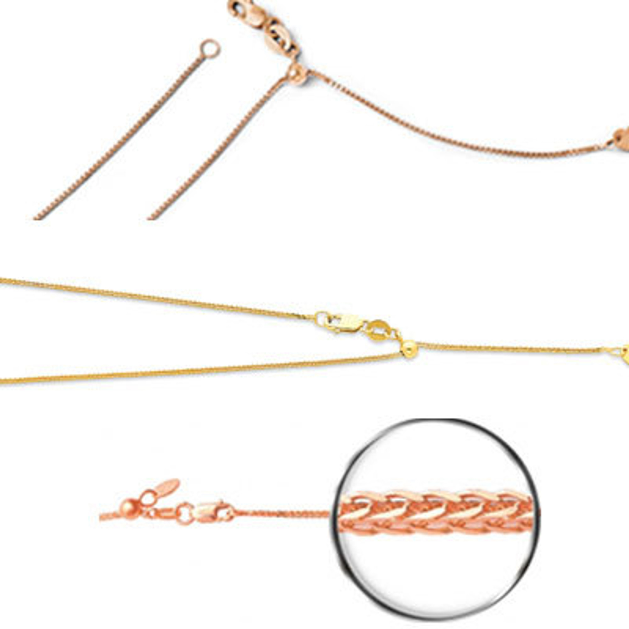 """Details about  /Italian 14k Rose Gold Rolo Chain Necklace Adjustable 16-20/"""" 0.9mm to 1.35mm"""