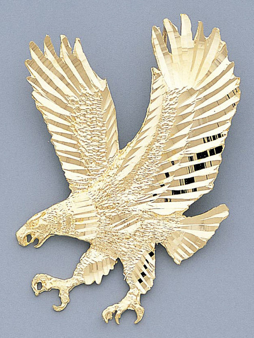 Details about  /Real 14kt Yellow Gold Diamond-cut Eagle Earrings