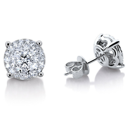 Details about  /0.24 Ct Round Cut Natural Diamond 18K White Gold Over Square Shape Stud Earring