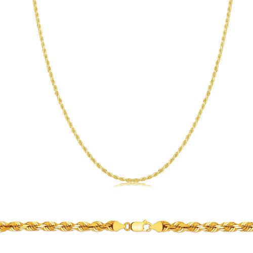 """Details about  /Men Ladies 100/%  Real 10k Yellow Gold Necklace Solid Rope Chain 2mm 18/"""" inch"""