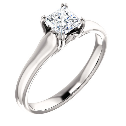 18k White Gold 1 2 Carat Princess Cut Diamond Solitaire Engagement Ring Sarraf Com