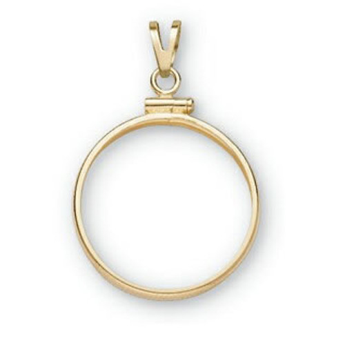 Details about  /14k Yellow Gold Rope Diamond-cut Screw Top 13mm Coin Bezel Pendant