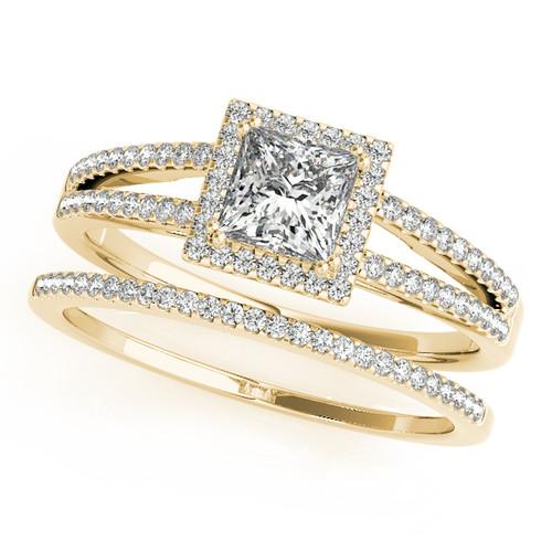 14k Yellow Gold 2 3 Carat Princess Cut Halo Engagement Ring Sarraf Com