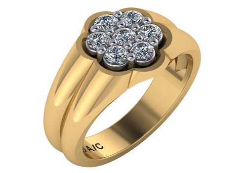 Details about  /10K Yellow Gold Diamond Cluster Ring