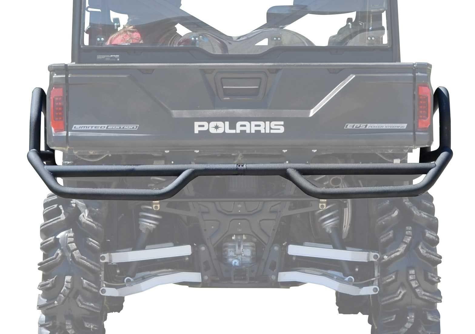 SuperATV Heavy Duty Rear Bumper for Polaris Ranger Midsize 500 Wrinkle Black 2017+