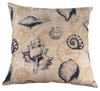Sanibel Navy Shells on Cream 18 x 18 Inch Accent Throw Pillow