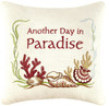 Another Day in Paradise Accent 10 Inch Coastal Seashells Square Throw Pillow