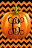 Pumpkin Chevron Monogram C Double Sided 12 X 18 Inch Garden Flag