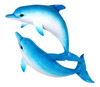 Swimming Blue Double Dolphins Wall Decor 18 Inch Plaque