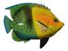 Big 12 Inch Tropical Fish Tiki Sea Life Bath Wall Decor Green and Yellow 12TFW37