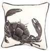 Coastal Marina Blue Crab on White 18 x 18 Inch Fabric Throw Pillow