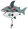Allen Designs Surf At Risk Shark Teeth Surfer Shaped Pendulum Battery Wall Clock