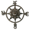Cast Iron Rustic Compass Rose Sculpture Wall or Garden Decor