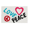 Love and Peace Graffiti on White Bathroom Area Rug Mat