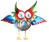 Whimsical Red Eyed Gooney Bird Garden Owl Metal Dimensional Figurine