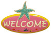 Coastal Sea Teal Starfish 13 Inch Oval Welcome Sign Haitian Metal Wall Decor