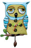 Allen Designs Whimsical Wise Old Blue Owl Pendulum Battery Operated Wall Clock
