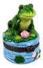 Green Froggy Frog on Lilypad Porcelain Hinged Trinket Box