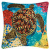 Sea Turtle Swimming in Coral Accent Pillow 18 X 18 Inch Indoor Outdoor