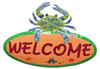 Coastal Maryland Blue Crab 13 Inch Oval Welcome Sign Haitian Metal