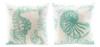 Aqua Sealife Seahorse and Nautilus Shell on White 13 Inch Throw Pillows Set of 2