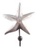 Coastal Wavy Arm Starfish Wood Carved Single Wall Hook Whitewash Finish
