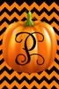 Pumpkin Chevron Monogram P Double Sided 12 X 18 Inch Garden Flag