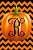 Pumpkin Chevron Monogram R Double Sided 12 X 18 Inch Garden Flag