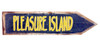 Pleasure Island Directional Arrow Wood Wall Plaque 18 Inch Blue and Yellow Sign