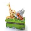 Animals in the Jungle Lion Tiger Elephant Giraffe Hinged Trinket Box