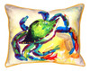 Teal Blue Crab 16 x 20 Inch Large Indoor Outdoor Pillow Betsy Drake Design
