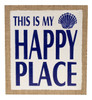 This Is My Happy Place Seashell Burlap on Wood 11 Inch Wall Tabletop Decor